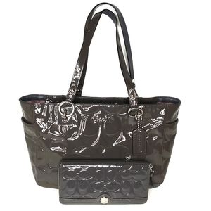 Coach dark Grey Embossed Patent Leather tote set